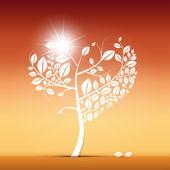 Heart Shaped Tree on Desert — Stock Vector