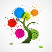 Tree With Colorful Blobs — Stock Vector