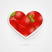 Heart Shaped Red Strawberries — Stock Vector