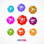 Colorful Discount Sale Icons — Stock Vector