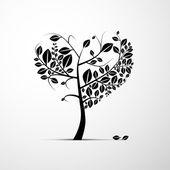 Black Heart Shaped Tree — Stock Vector
