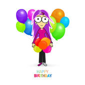 Happy Birthday Theme with Girl and Balloons — Stock Vector