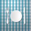 Fork, Plate and Knife — Stock Vector
