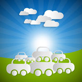 Paper Cars and Clouds on Blue sky — Vector de stock