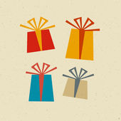 Retro Paper Vector Present Box, Gift Box Set — Stock Vector