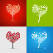 Abstract Vector Heart-Shaped Tree Set — Stock vektor