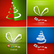 Four Abstract Christmas Background Sets — ベクター素材ストック