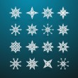 Vector Paper Christmas Star Set on Blue Background — Stock Vector
