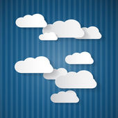Paper Clouds on Blue Cardboard Sky — Stock Vector