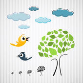 Paper Trees, Birds and Clouds on Cardboard — Stock Vector