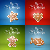 Four Abstract Christmas Backgrounds with Gingerbread — Stock Vector