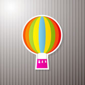 Paper Colorful Hot Air Balloon on Cardboard Background — Stock Vector