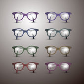 Set of Retro Vector Glasses Isolated on Grey Background — Stock Vector