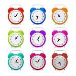 Colorful Alarm Clock Set — Stock Vector