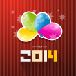 Stock Vector: Happy New Year 2014 Title with Colorful Balloons on Red Background