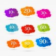 Colorful Discount Labels, Stains, Splashes — Stock Vector