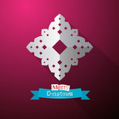 Paper Cut Snowflake on Violet Background — Stockvektor