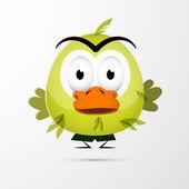 Funny Green Bird Illustration — Stockvektor