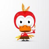 Funny Red Bird Icon — Vecteur