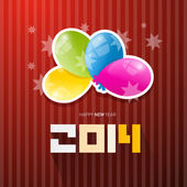 Happy New Year 2014 Title with Colorful Balloons on Red Background — Stock Vector