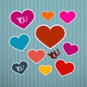 Vector retro corazones de fondo — Vector de stock