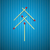 Retro Christmas Tree Made From Matches on Blue Cardboard — Stockvektor