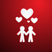 Two Paper People with Hearsts on Red Background — Stock vektor