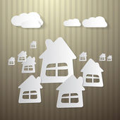 Abstract Buildings, Houses and Clouds — Stock Vector