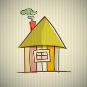 House Illustration on Cardboard Background — Stock Vector