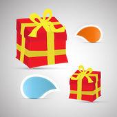 Vector de etiquetas y cajas de regalo — Vector de stock