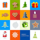 Sixteen Christmas Vector Backgrounds Set — Stock Vector