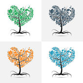 Vector heart shaped tree with roots set — Stock Vector