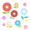 Abstract Vector Flowers Illustration Isolated on White Background — Stock Vector