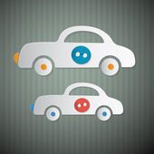 Abstract Vector Paper Cars with Buttons on Retro Cardboard Background — Stock Vector