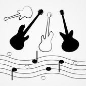 Vector gitaar, bas, personeel, notities zwarte lijnen en silhouet — Stockvector