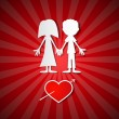 Valentine Paper Red background with Man, Woman and Heart — Vector de stock  #37834617