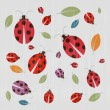 Stock Vector: Abstract Retro Textile Background with Ladybirds and Leaves