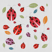 Abstract Retro Textile Background with Ladybirds and Leaves — Stock Vector