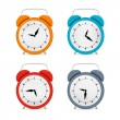 Alarm Clock Set Isolated on White Background — Stock Vector