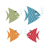 Abstract Retro Fish Set Illustration — Stock Vector