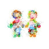 Abstract Two People Holding Hands Made From Colorful Splashes — Stock Vector