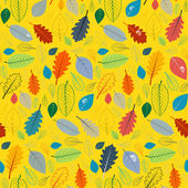 Abstract Yellow Seamless Pattern with Leaves — Stock Vector