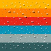 Rain, Water Drops on Retro Colorful Background — Stock Vector