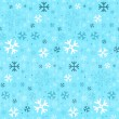 Stock Vector: Retro Seamless Blue Winter Background with Snowflakes