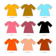Vector T-shirt Set in Retro Colors Isolated on White Background — Stock Vector