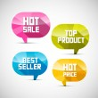 Colorful Labels Best Seller, Top Product, Hot Sale, Price — Stock Vector #38099921