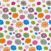 Retro Vector Flowers Seamless Pattern, Background — Stock Vector