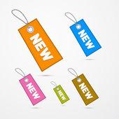Retro kağıt etiketler, dizeleri ve adı yeni ile etiketleri — Stok Vektör