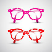 Abstract Vector Funny Red, Pink Glasses with Dots — 图库矢量图片