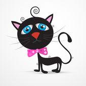 Vektör siyah kedi, yavru kedi gözleri mavi ve pembe fiyonk ile — Stok Vektör